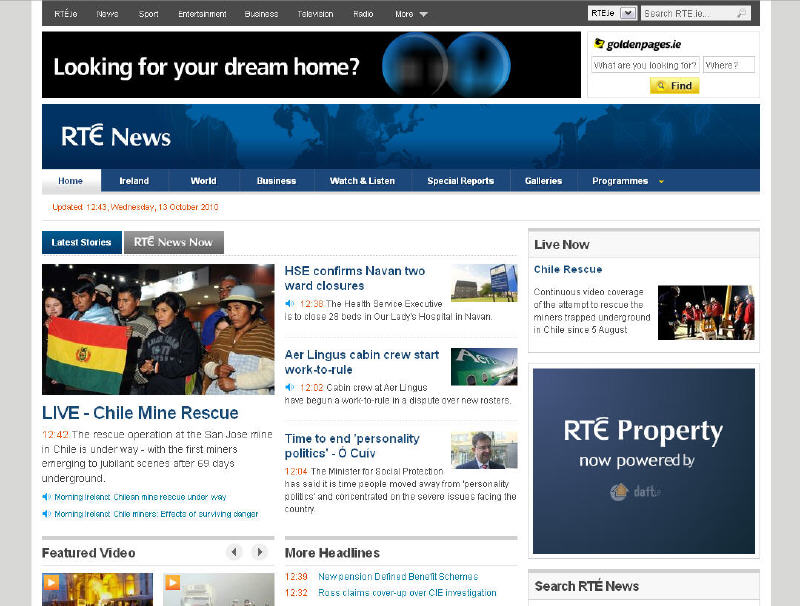 RTE news pages