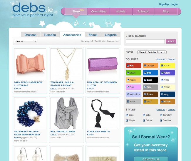 Debs.ie Screenshot