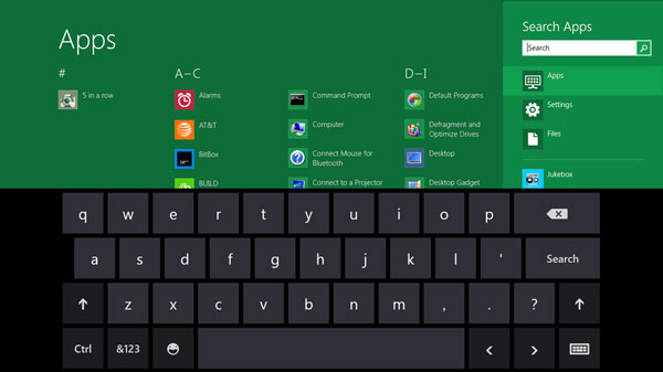 Windows 8 keyboard, tablet