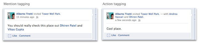 Action tagging vs mention tagging