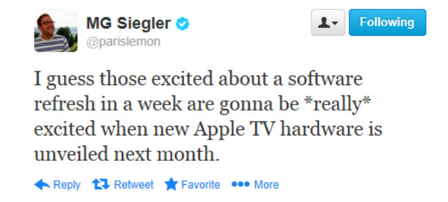 MG Siegler tweet, apple tv