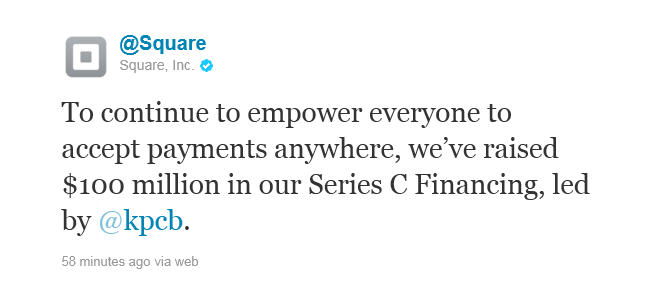 Square investment tweet