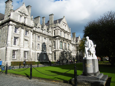 View of the statue of George Salmon in Parliament Square at TCD. As well as being a mathematician and theologian, Salmon (1819-1904) was provost of the university until his death in 1904. He opposed the admittance of women to TCD. The sculpture of Salmon appears to have been carved out of Galway marble by the sculptor John Hughes. Image courtesy of the composer Matthew Barnson, assistant professor of composition at TCD