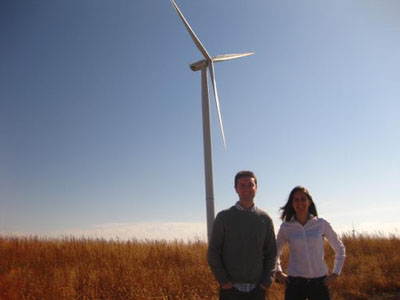 Nick Coons and Steffi Russell-Egbert, members of Google's investment team, pictured visiting the Rippey project in Iowa in October
