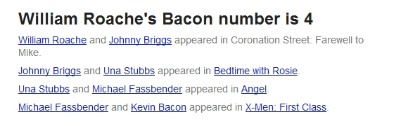 William Roache's Bacon number