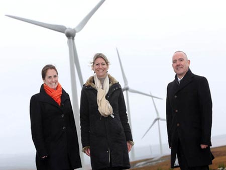 Pia van der Feltz and Ghislaine Schreinemachers of Rabobank International with Ian Thom, group chief executive, Viridian, at the opening of the Crighshane and Church Hill wind farms in Co Tyrone, Northern Ireland, in October 2012