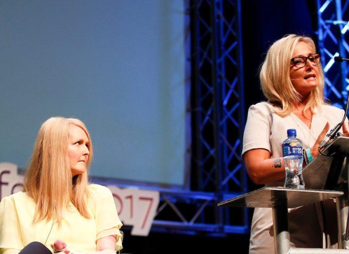 Emma Fogarty and Liz Collins of Debra Ireland speaking at Inspirefest 2018