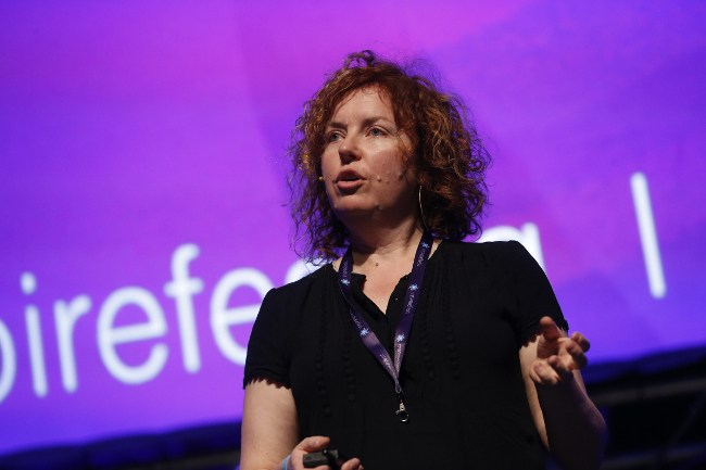 Prof Linda Doyle on stage at Inspirefest 2015. Image: Conor McCabe Photography