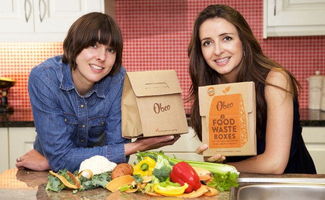 Kate Purcell and Liz Fingleton displaying the Obeo food waste box