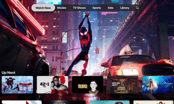 Screenshot of Apple TV with a still from the Spiderman into the Spiderverse film as the lead image.