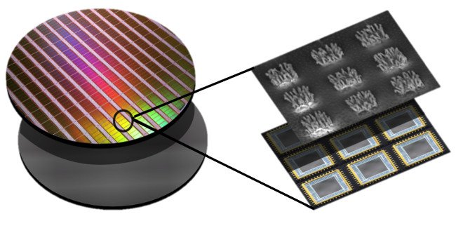 schematic of new nanosurface, with rainbow-coloured disc on the left and close-up of surface on the right, similar to chips on a bank card.