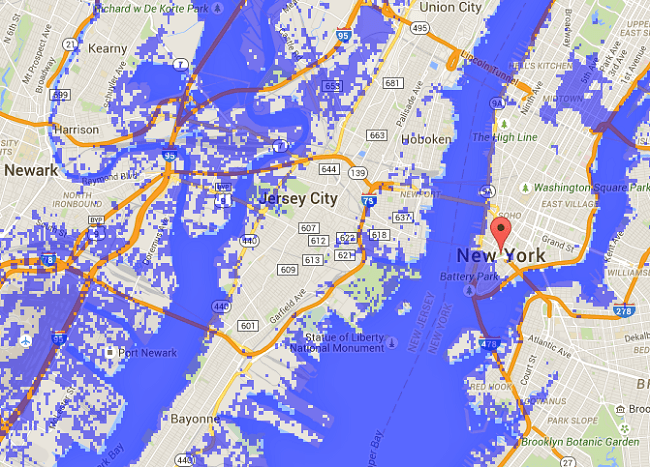 Rising sea levels New York