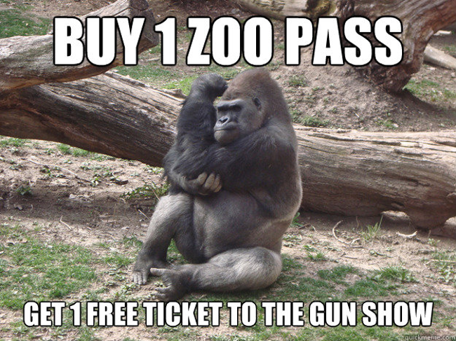 One zoo pass, one ticket to the gun show