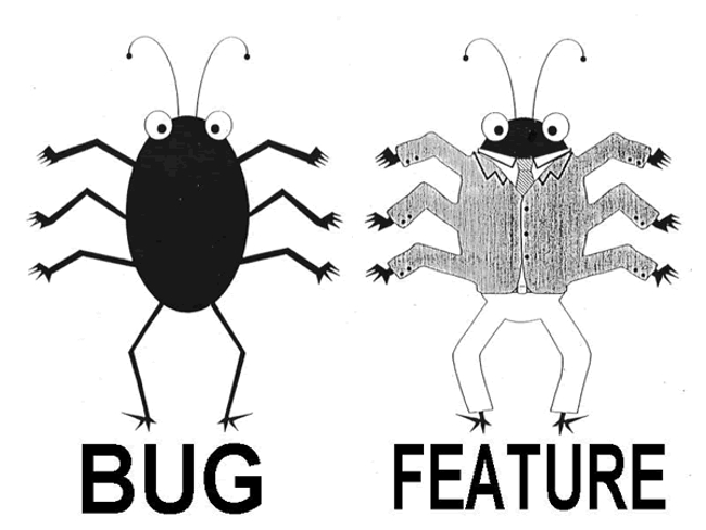 Difference between bugs and features