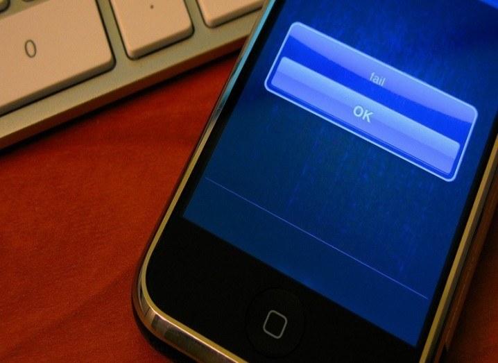 An iPhone fail message