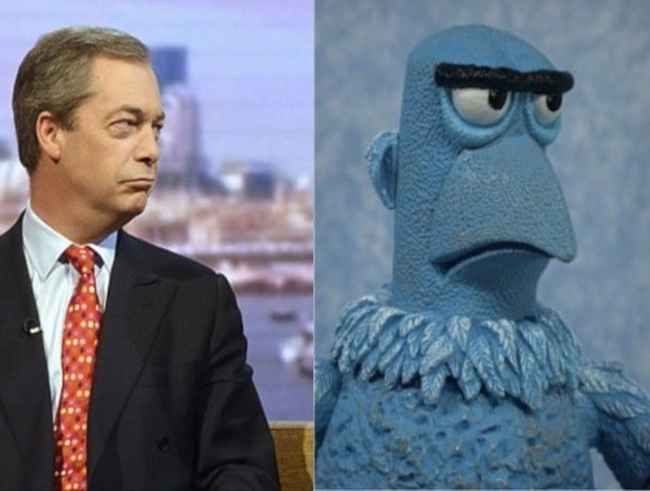 Nigel Farage looks like Sam the Eagle