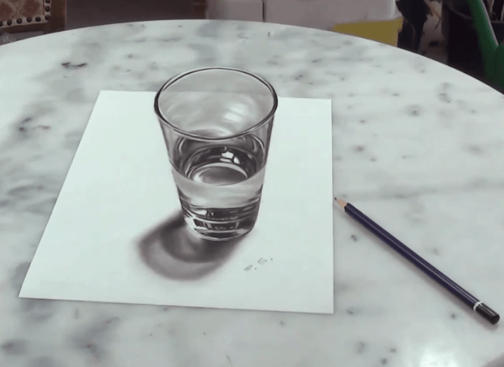 Hand-drawn glass appears 3D