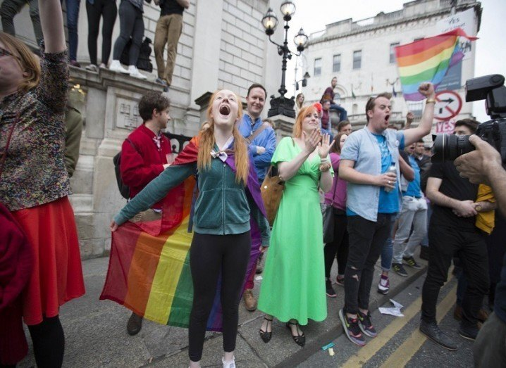 People celebrating passing of marriage equality referendum