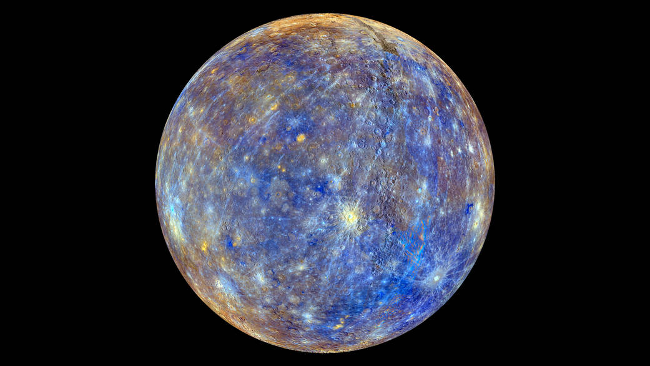 Mercury with blue surface