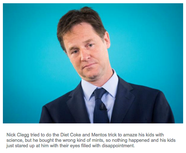 Sad Nick Clegg messed up Diet Coke and Mentos trick