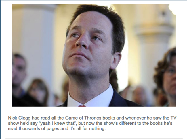 Nick Clegg's Game of Thrones concerns