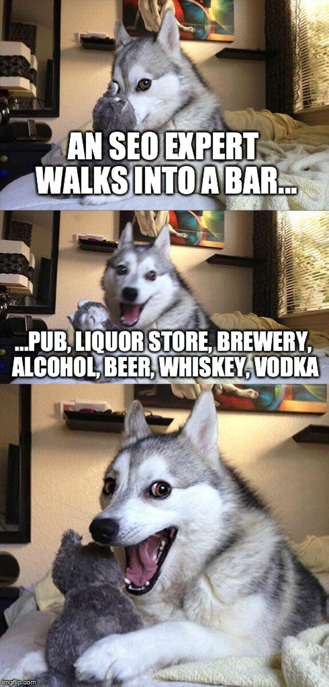 Pun Dog SEO expert walks into a bar