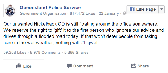 Queensland Police January Facebook post