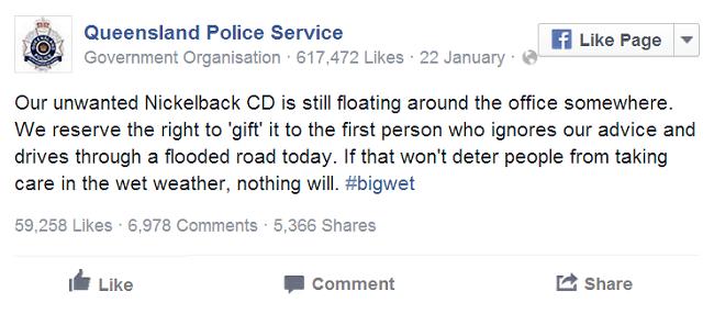 Queensland Police January Facebook post