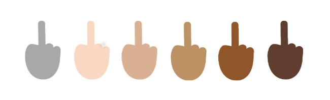 Racially diverse middle fingers