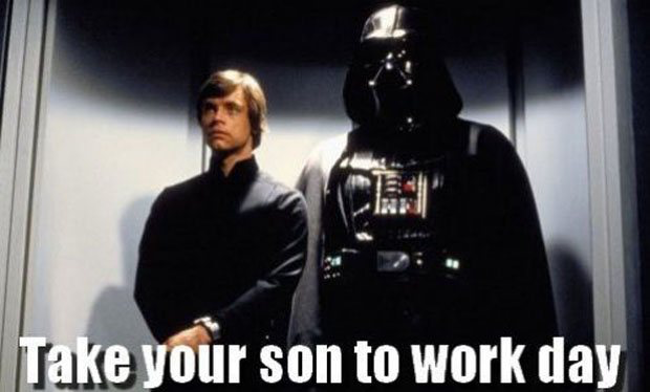 Luke and Vader on take your son to work day