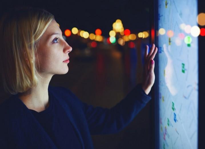 Woman monitoring GPS