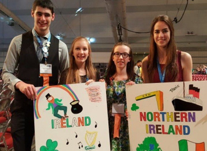 Christopher Carragher, Shauna Murphy, Caoimhe Cronin and Anna McEvoy are pictured at Intel ISEF 2015