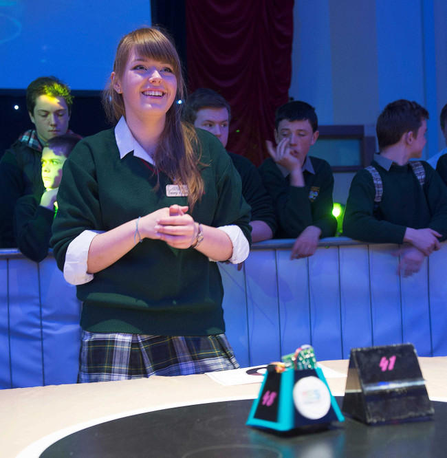 Laura Karaliute with her robot, 'Sassy'