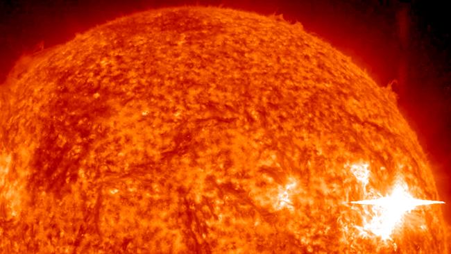 Bright solar flare