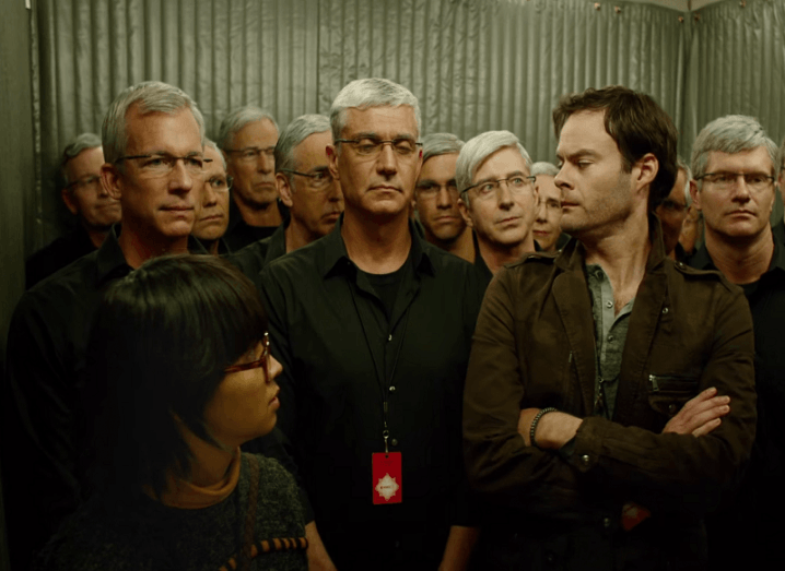 Bill Hader with Tim Cook-alikes