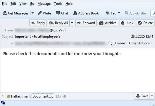ESET Ireland discovered this dodgy email circulating the country