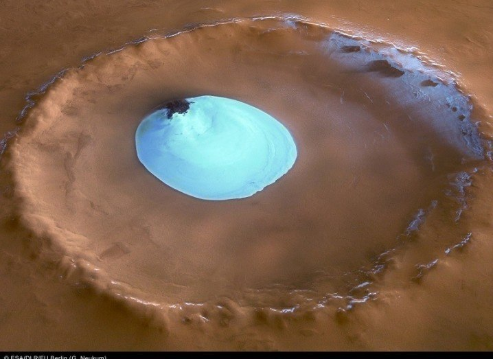 Ice in crater on Mars