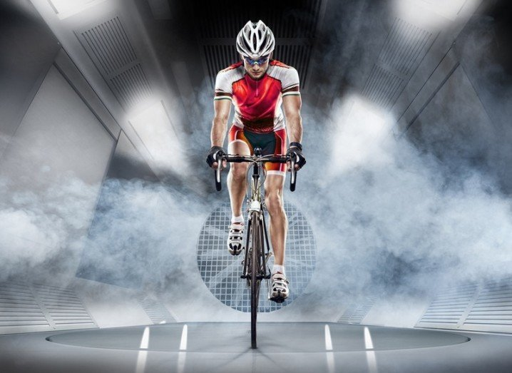 Indoor Cycling - Cyclist in a wind tunnel