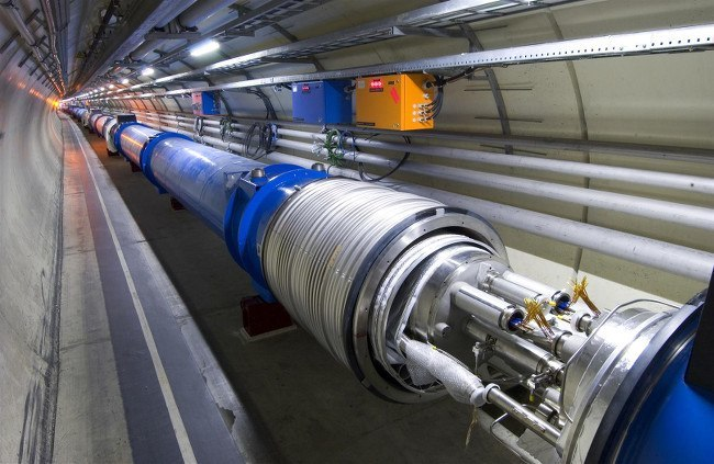 View of an open LHC interconnection, via M Brice/CERN