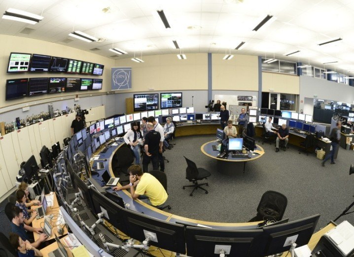 A fish-eye view of the LHC control hub in the CERN control centre, where operators control the Large Hadron Collider, via M. Brice/CERN