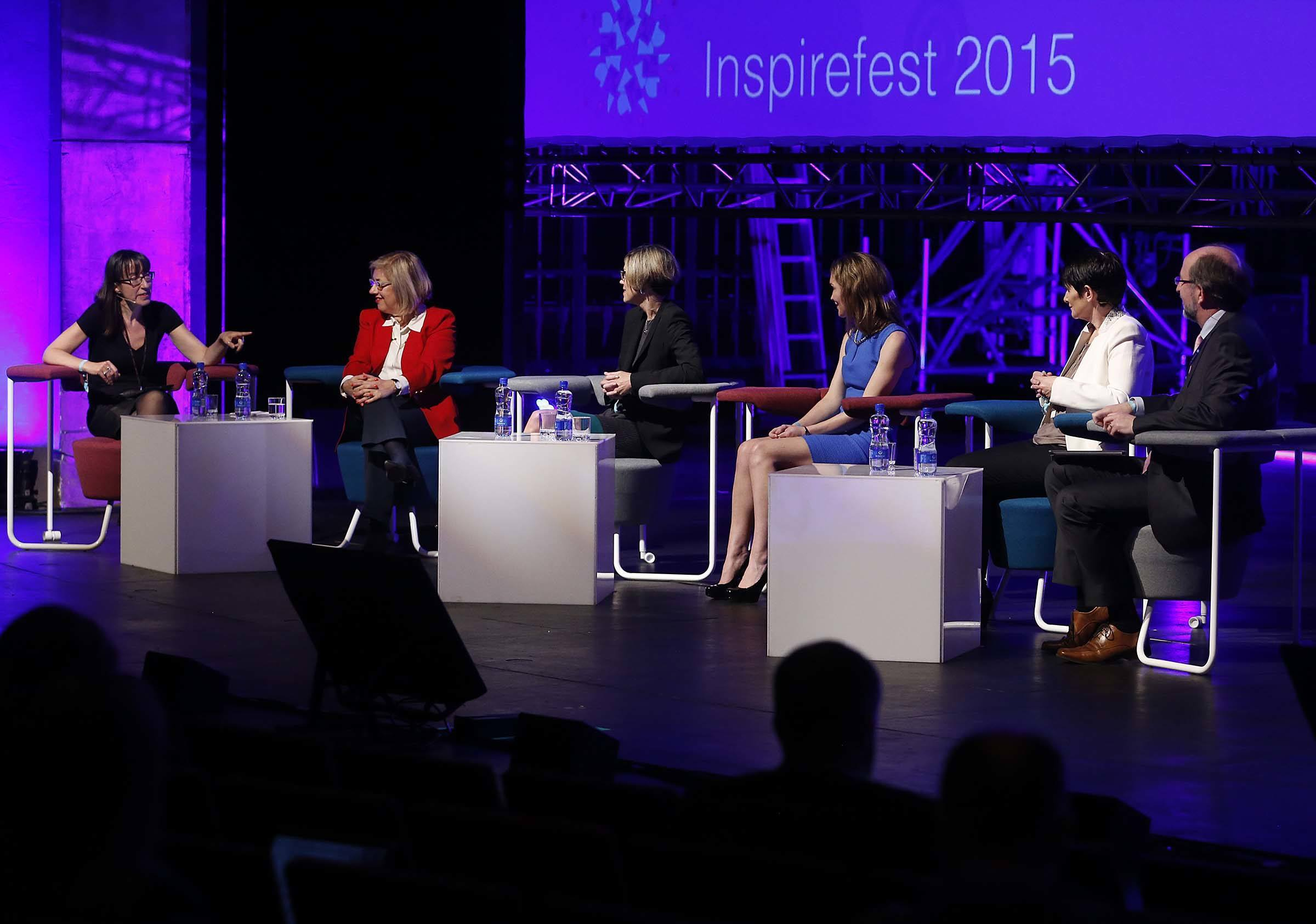 Leadership Panel: (l-r) Ann O'Dea; Shelly Porges; Bethany Mayer; Margaret Burgraff; Carolan Lennon; Prof Brian MacCraith