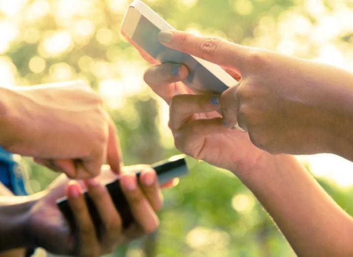 People messaging on smartphones