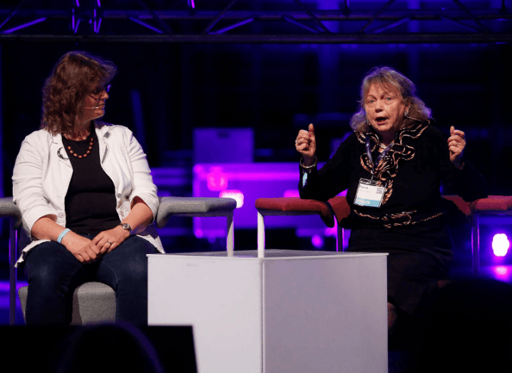 Susan McKenna-Lawlor sits next to Dr Lucy Rogers at Inspirefest panel on Reaching for the Stars