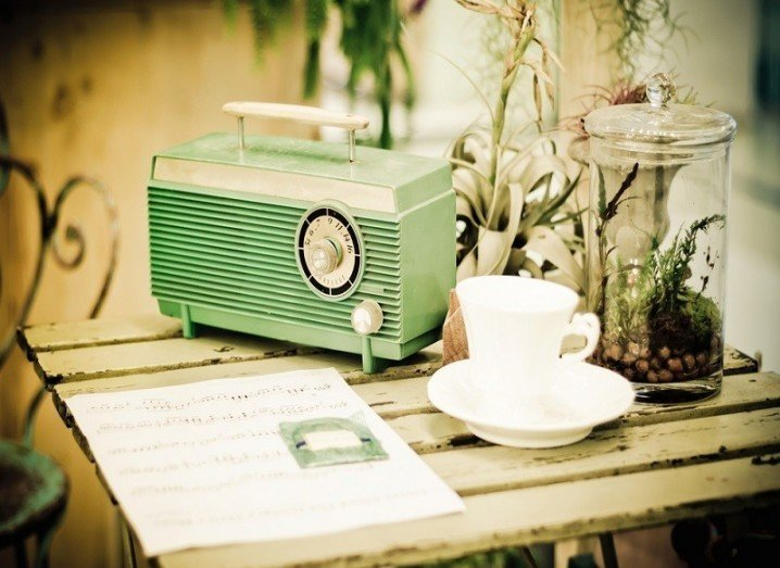 Retro radio on table