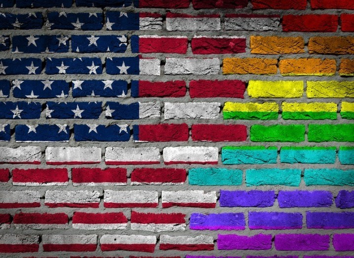US flag with rainbow colours #LoveWins