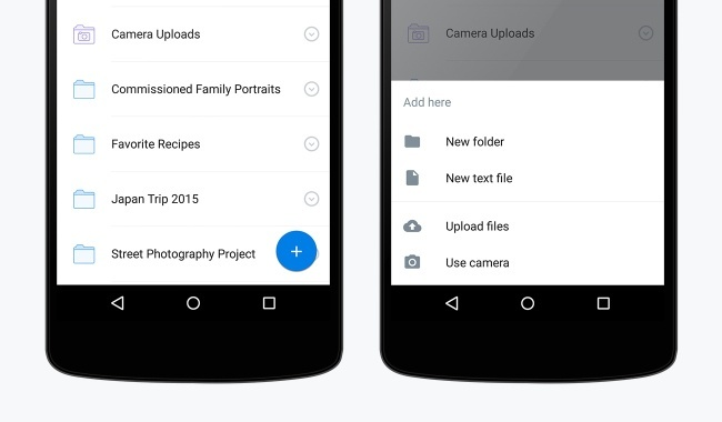 Dropbox for Android plus sign