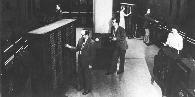 Programmers at work on the ENIAC computer