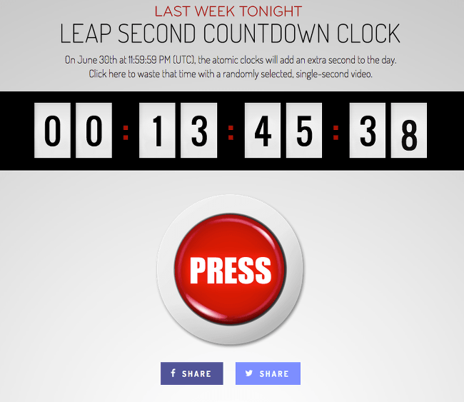 Leap second countdown from SpendYourLeapSecondHere.com