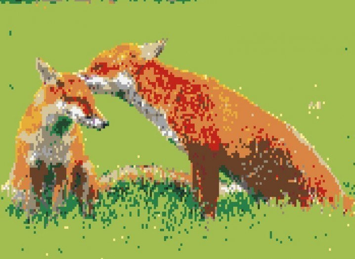 Legoizer art with picture of two foxes