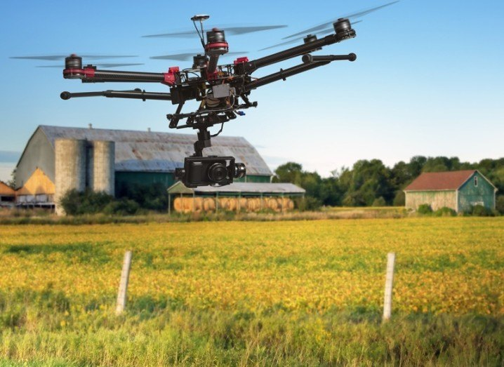 Drone flying on US farm